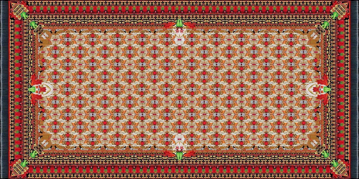 immagine optical, concentrandosi su un punto e persistendo con sguardo fisso oltre il livello visivo, sfocando leggermente l'immagine, si avrà un effetto tridimensionale - tappeto persiano realizzato graficamente con immagini di oggetti di uso comune - opera di carlo de meo