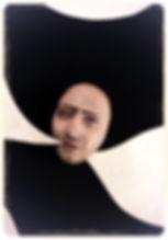 BLABLA - particolare dell'installazione di carlo de meo - collezzione fondazione VAF, germania - testa bifronte con due nuvolette che escono dalla bocca - arte contemporanea