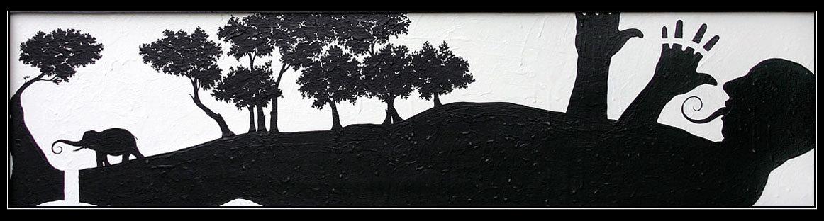 opera pittorica di carlo de meo - ELEFATE? - figura maschile nuda distesa con alberi ed elefante con proboscite spiralica come la lingua dell'uomo - arte contemporanea