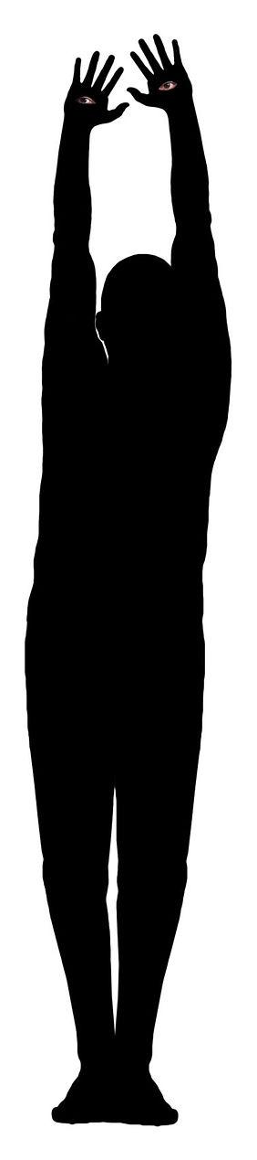 carlo de meo, ombra, mani alzate, uomo nero con occhi
