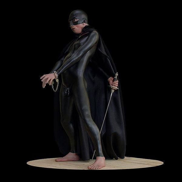 uomo nero, zorro, scultura di carlo de meo,
