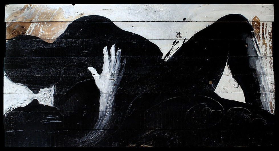 TU, opera pittorica di Carlo De Meo, figure in intimità, bianco e nero, tempera su tavole