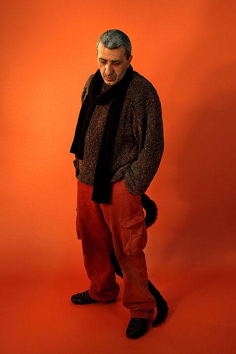 carlo de meo, arancione, ritratto con coda, lupo cattivo - artista d'arte contemporanea