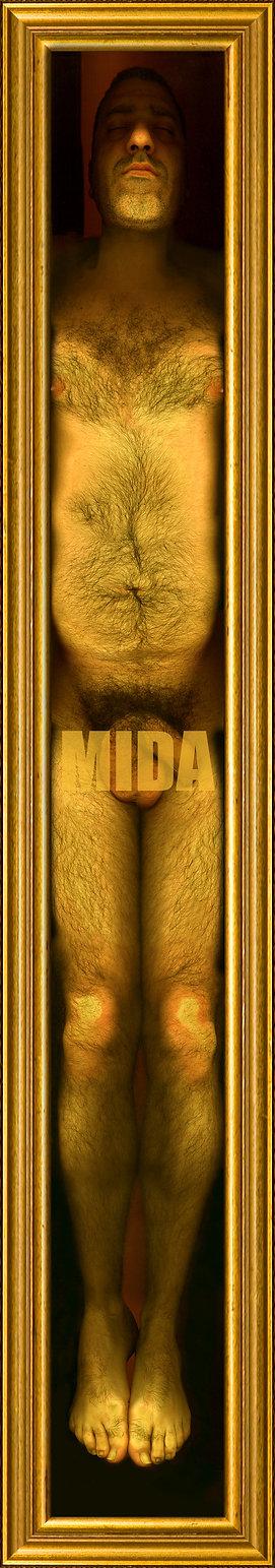 carlo de meo, uomo nudo, cornice oro, giallo - museo d'arte contemporanea, opera fotografica