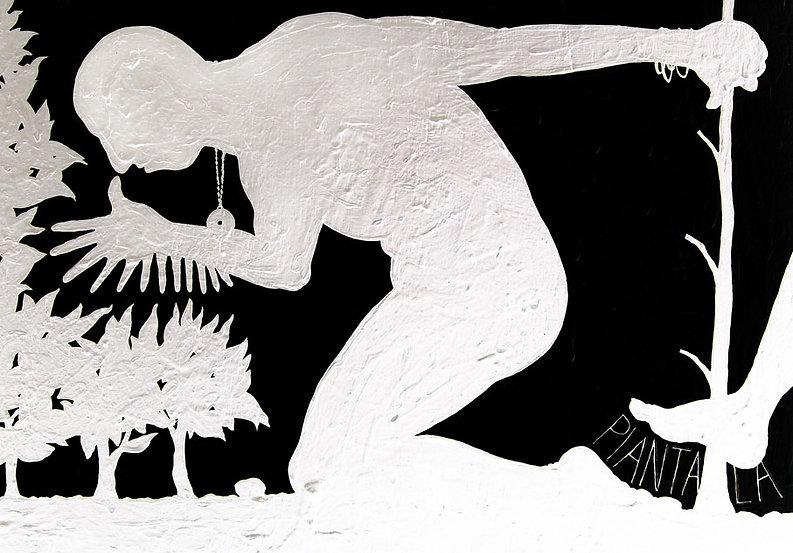 opera pittorica di carlo de meo - figura nuda in bianco e nero con tredici dita - arte contemporanea