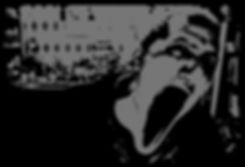 urlo mattutino, figura in bianco e nero che urla