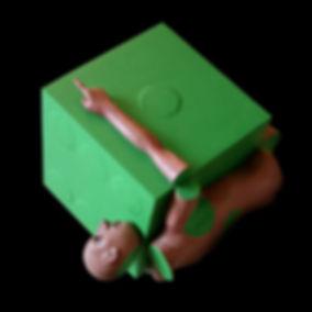 scultura in resina, dada, corpo spezzato, verde