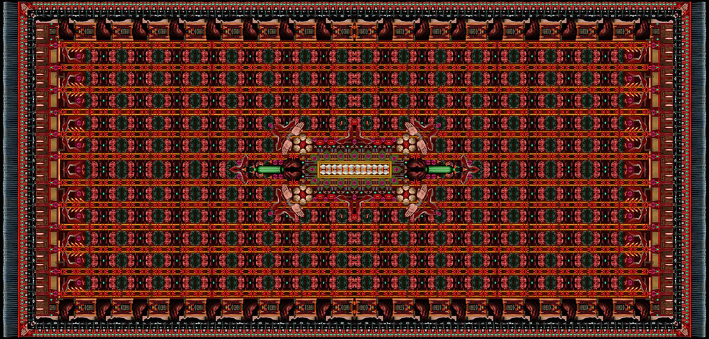 opera digitale di carlo de meo - tappeto in pvc realizzato con collage di foto di oggetti - 2016