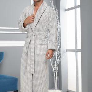 Халат мужской шалька светло-серый