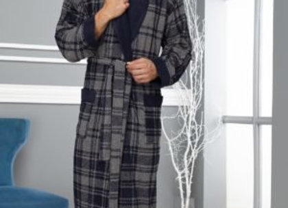 Халат мужской Шатланд шалька(тёмно-синий)
