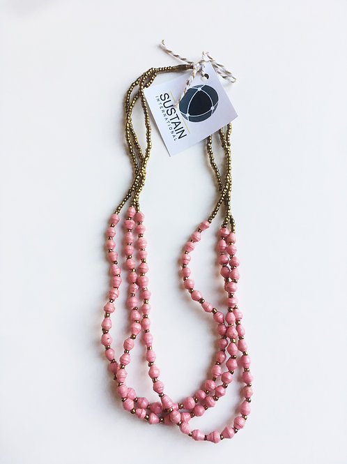 Pink and Gold Small Bead Necklace