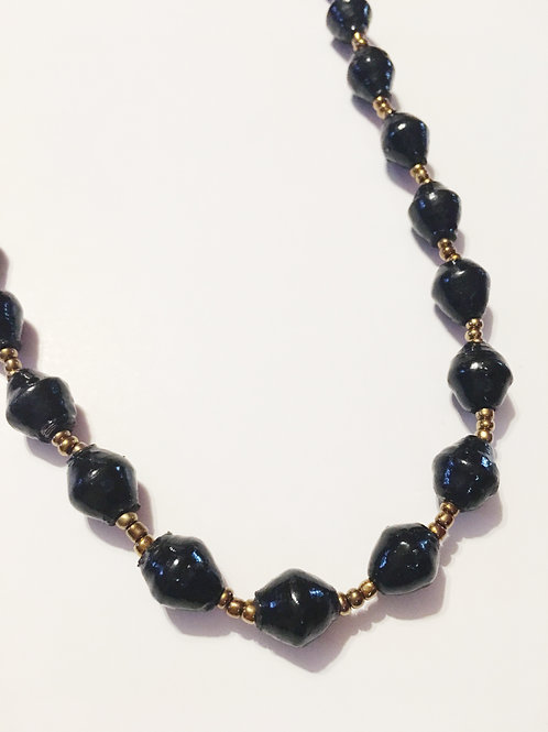 Black One Strand Necklace Long