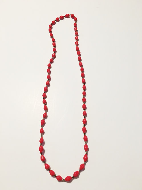 Red One Strand Necklace Long