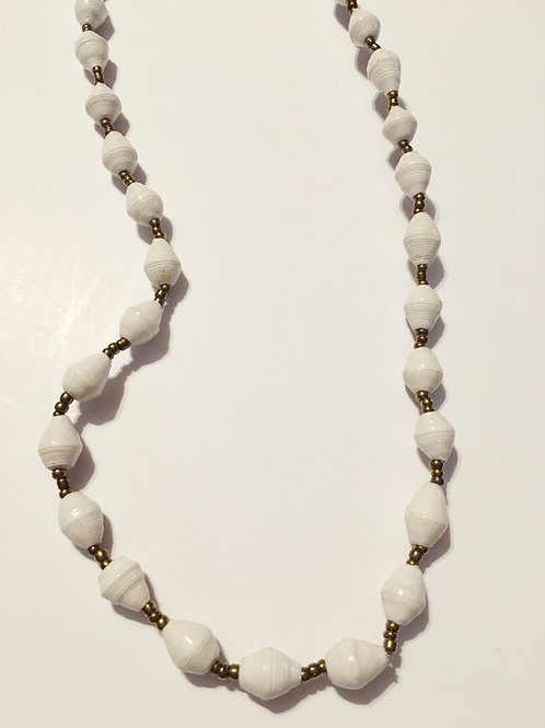 White One Strand Necklace Long