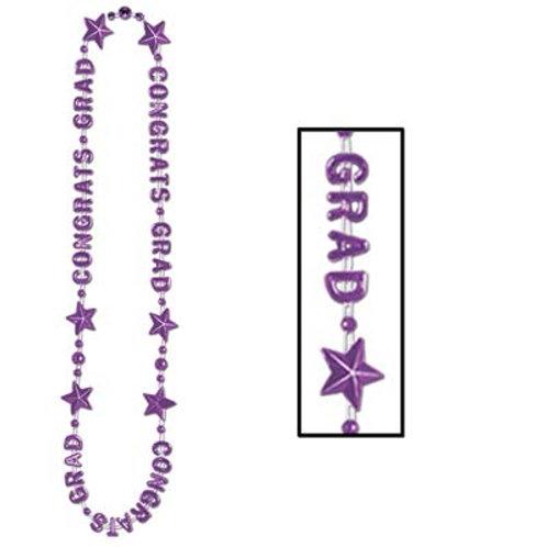 Purple Graduation Beaded Necklace