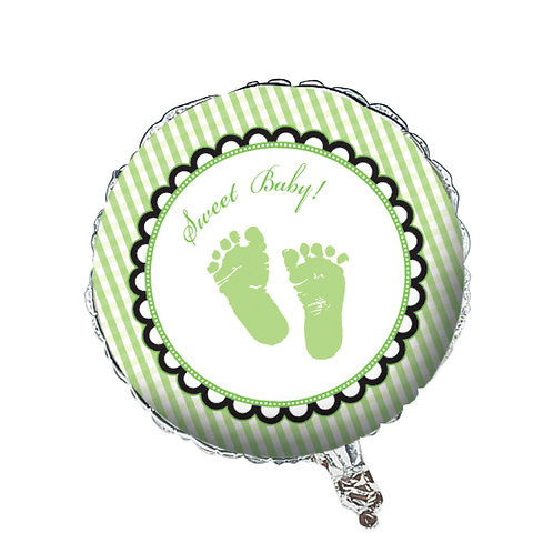 Sweet Baby Feet - Green Metallic Balloon