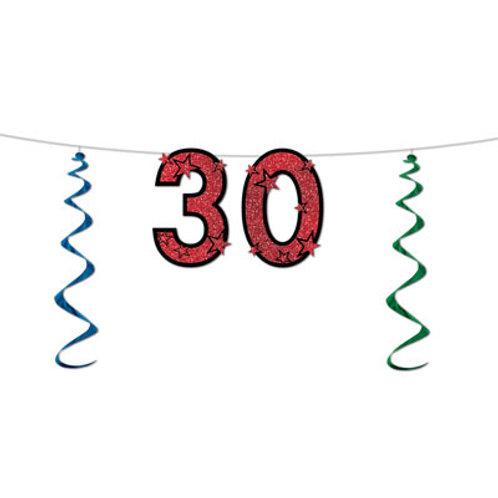 30th Birthday Glitter Streamer