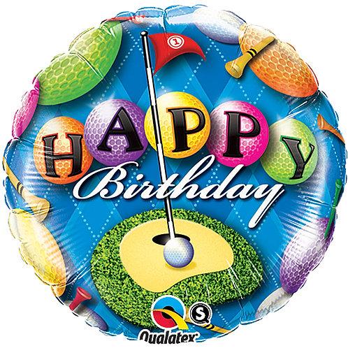 "Balloon Foil 18""Happy Birthday Golf"