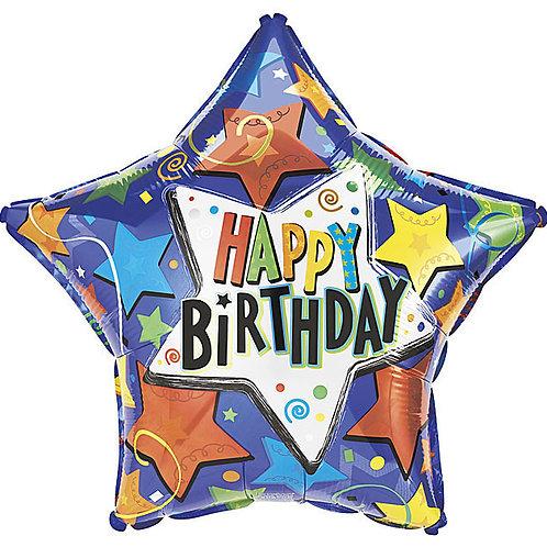 """Balloon Foil 9"""" Birthday Stars"""
