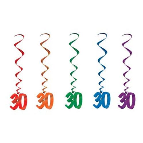 30th Birthday Hanging Swirls 5 Pc