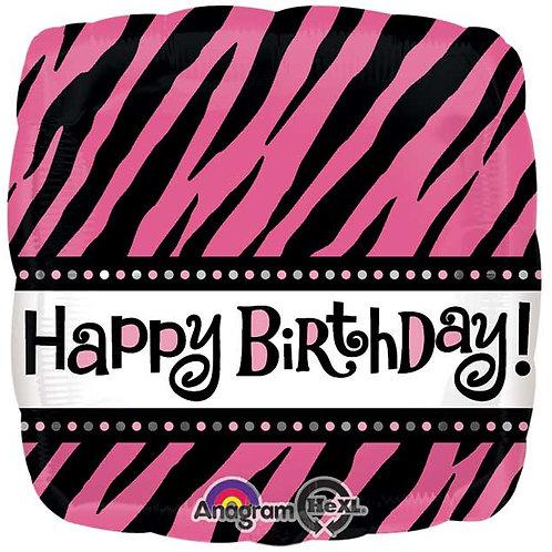 "Balloon Foil 18"" Fab Pink Zebra"