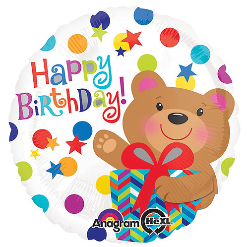 "Balloon Foil 17"" Happy Birthday Bear"