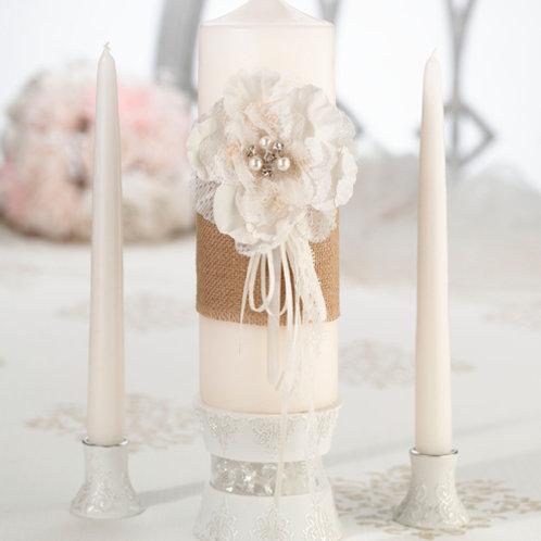 Wedding Unity Candle Burlap & Lace