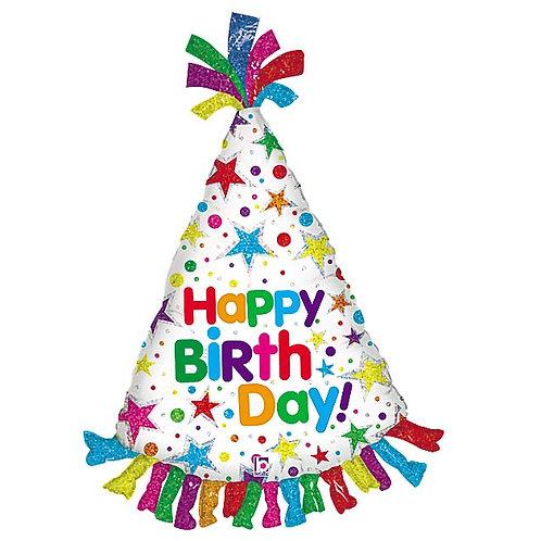 "Balloon Foil 34"" Happy Bibrthday Party Hat"