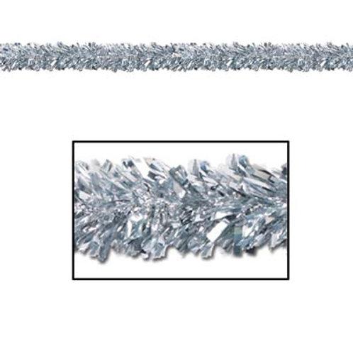 Silver Christmas Tinsel Garland 15'
