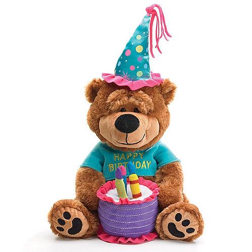 Plush Music Bear With Cake