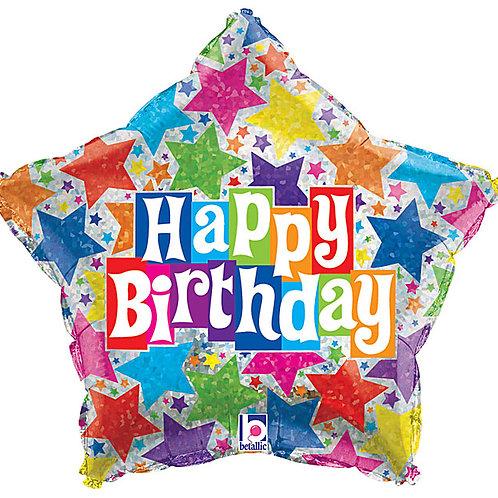 "Balloon Foil 19"" Happy Birthday Star"