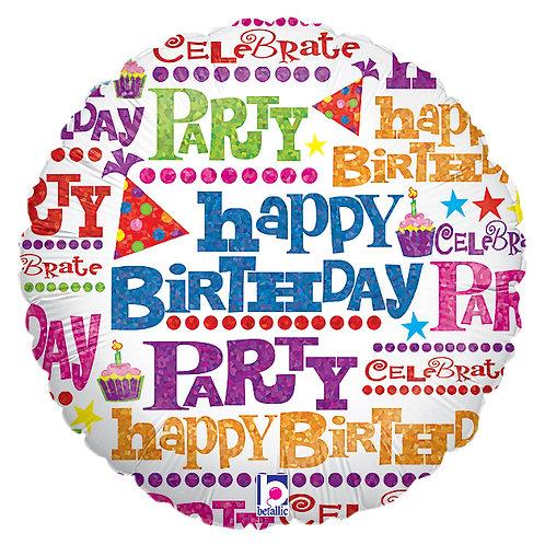 "Balloon Foil 18"" Happy Birthday Giftwrap"