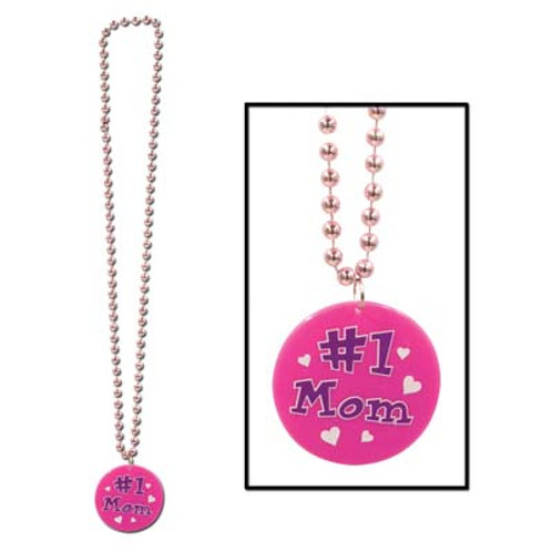 #1 Mom Beaded Necklace