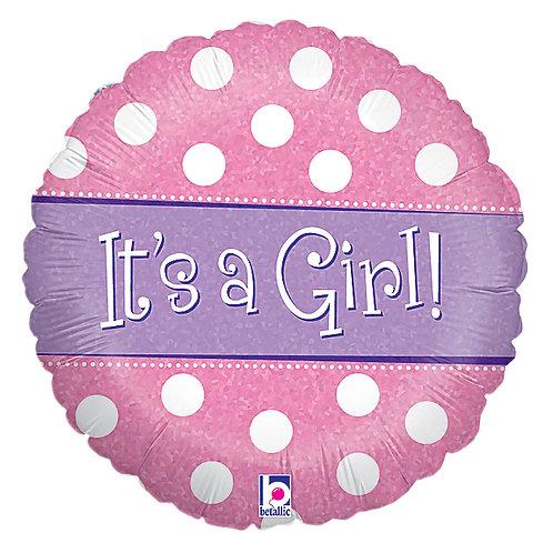 """Balloon Foil 18"""" Spots Dots Girl"""