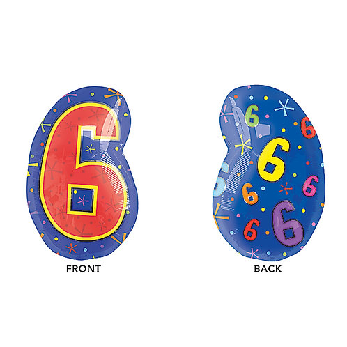 """Balloon Foil 20"""" Number 6 Multicolor"""