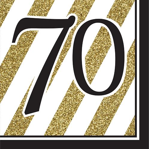 Black & Gold Birthday Luncheon Nap (16Ct) - 70Th Birthday
