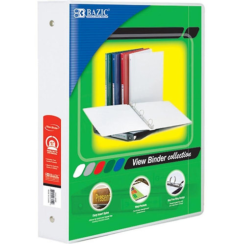 """1  1/2"""" White 3-Ring View Binder with 2-Pockets"""