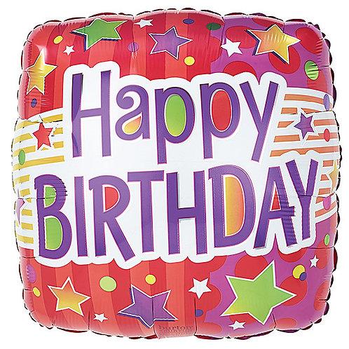 "Balloon Foil 18"" Happy Birthday Red & Organge"
