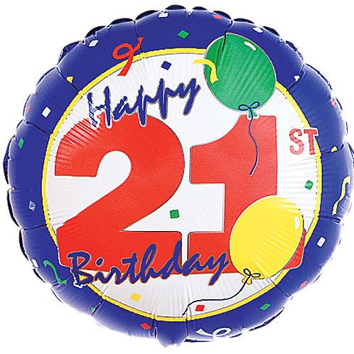 "Balloon Foil 18"" Happy Birthday 21 Confetti"