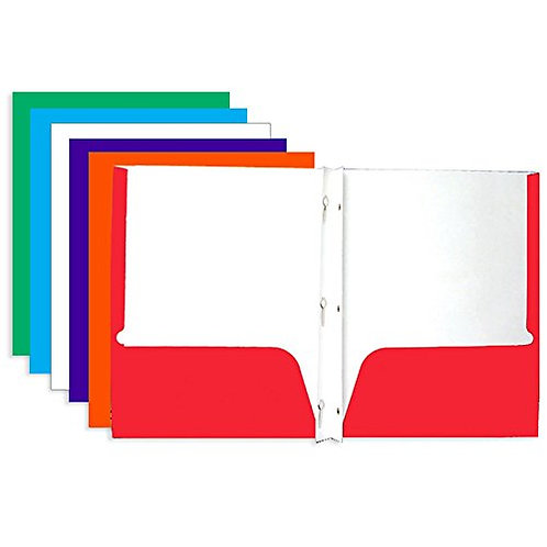Laminated Bright Glossy Color 2-Pockets Portfolios w/ 3-Prong Fastener