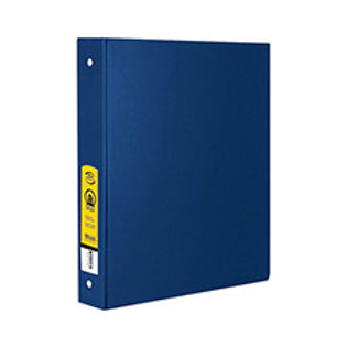 "1"" Blue 3-Ring Binder with 2 Pockets"
