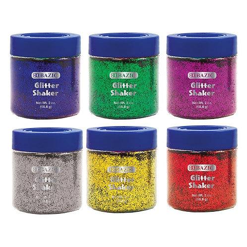 56.6g / 2 Oz. Primary Color Glitter Shaker w/ PDQ