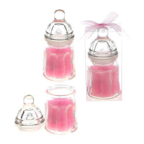 Favor Candle Baby Bottle Pink
