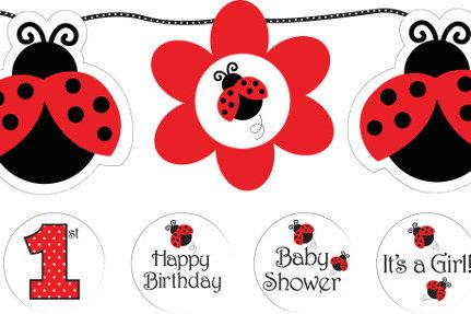 Ladybug Fancy Circle Ribbon Banner W/ Sticker