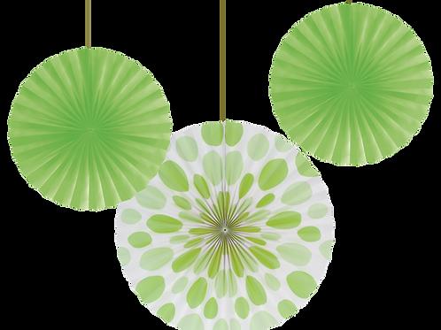 Fans Solid & Polka Dot Fan (3ct) Lime