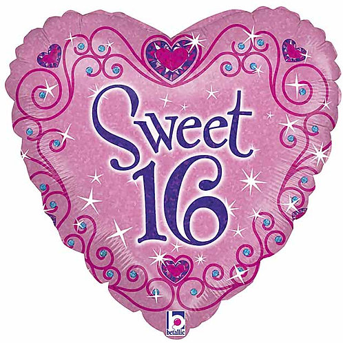 "Balloon Foil 18"" Sweet 16 Holographic"