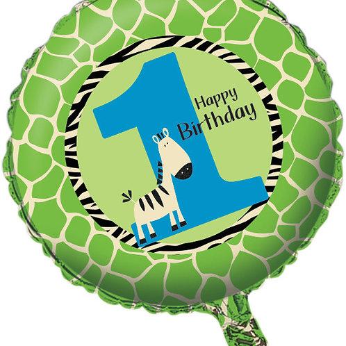 """Wild At One Zebra Metallic Balloon 18"""""""