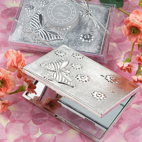 Mirror Compact Butterfly Silver