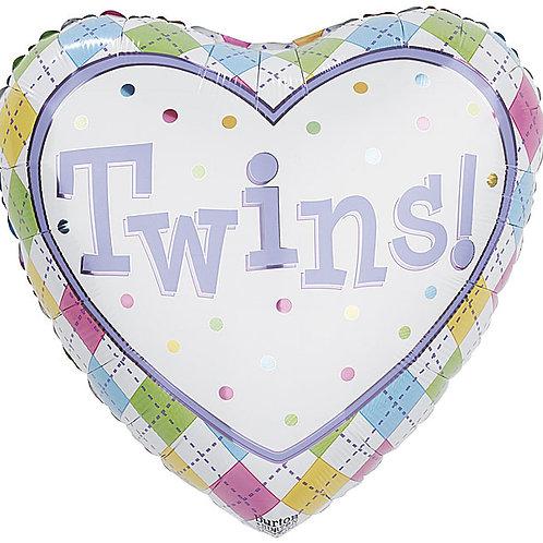 "Balloon 18"" Twins Heart Shape"