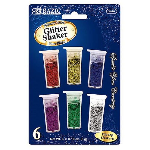 3g / 0.10 Oz. 6 Primary Color Glitter Shaker